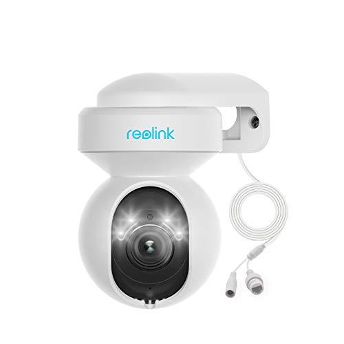 Reolink 5MP PTZ Cámara de Seguridad WiFi Exterior con 3X Zoom Óptico, Spotlight y Visión Nocturna en Color, 2.4/5GHz WiFi Cámara con Detección de Personas/Vehículos Seguimiento Automático, E1 Outdoor
