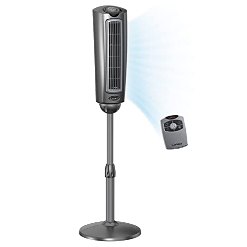 Lasko 2535 52″ space-saving pedestal tower fan with remote control -...