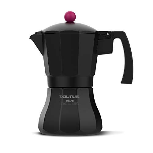 Taurus Black Moments 9 - Cafetera italiana, 9 tazas, base y filtro de acero inoxidable, mango ergonómico, válvula de seguridad, cierre de silicona para mayor seguridad, para todos los fuegos, negro