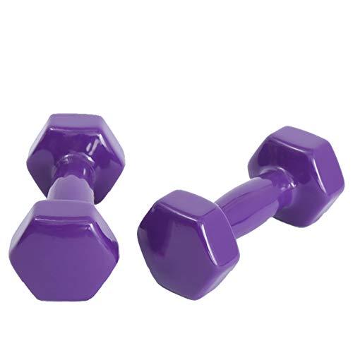 LUSTAR Juego de 2 Mancuernas Hexagonales, Pesas Moradas 0.5KG 1KG 1.5KG 2KG 2.5KG 3KG 4KG 5KG para Mancuernas y Flexiones de Fitness,Purple-(1KG*2)