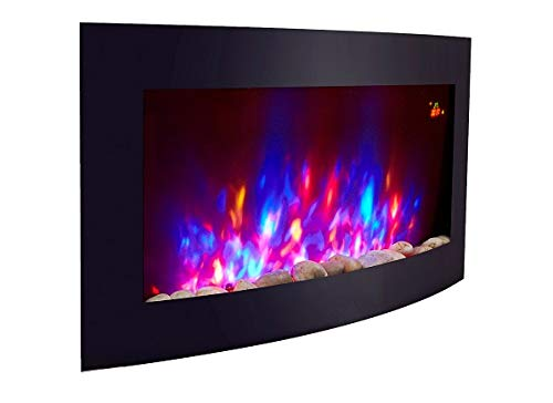 BLACK CURVED GLASS ELECTRIC WALL MOUNTED FIRE FIREPLACE