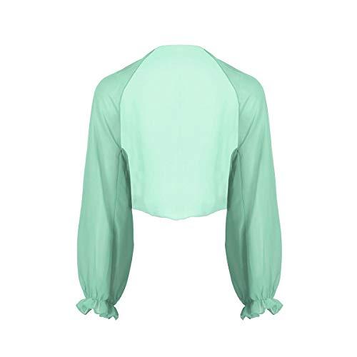 YiZYiF Damen Chiffon Cardigan Festlich Bolero mit Glocken Ärmel Leichte Dünne Jacke als Bikini Cover Up, 9 Farben Hellgrün Einheitsgröße