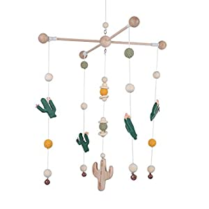 Bed Bell for Baby,Mobile Baby Nordic Style Wooden Wind Chime Handicraft with Bell Decoration Baby Photography Props Newborn Gift(Green Series)