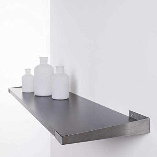 Duraline boekenkast plank plank ebbenhout | 80 x 23,5 cm incl. drager Embrac roestvrij staal