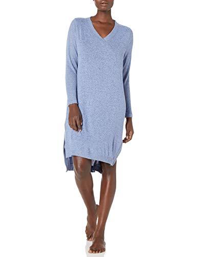 Karen Neuburger Women's Long Sleeve Nightshirt Nightgown Pajama Dress Pj, Solid Powder Blue Heather, Large