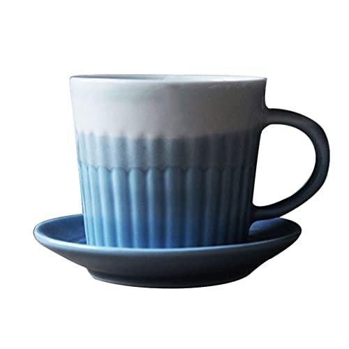 Taza de Latte Art Taza de capuchino de porcelana británica con platos de taza de café y copa 6oz para bebidas de café especializadas, Latte, Café Mocha y té, barra de espresso - Conjunto de 1, azul Co