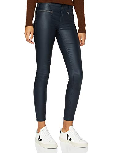Amazon-Marke: find. Damen Skinny Fit-Hose mit Ledereffekt, Blau (Navy), 34, Label: XS