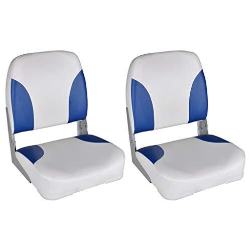 vidaXL 2X Bootssitz Klappbare Rückenlehne mit Blau-Weißem Kissen Bootsstuhl Steuerstuhl Anglerstuhl Bootssitze Boot Sitz 41x36x48cm