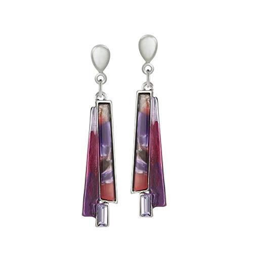 Eternal Collection Zelda Purple Enamel Silver Tone Drop Clip On Earrings Purple 5.8