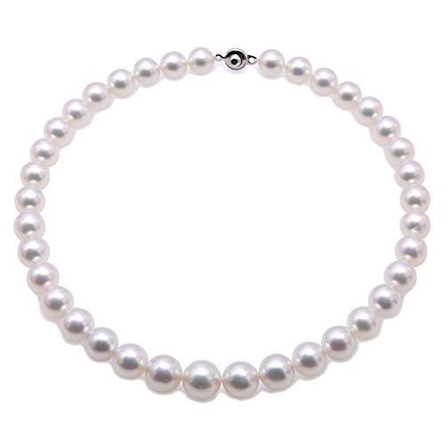 JYX Collana di perle bianche del Mare del Sud AAAAA Rotonda 11mm Acqua di Mare Coltivata Gioielli per le Donne 17 pollici