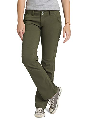 prAna - Women's Halle Roll-Up, Water-Repellent Stretch Pants for Hiking and Everyday Wear, Regular Inseam, Cargo Green, 4