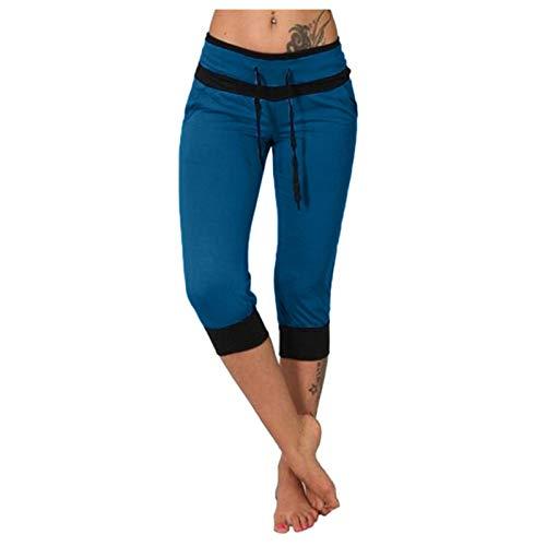 WUAI-Women Capri Yoga Sweatpants Casual Elastic Waist Drawstring Loose Workout Joggers Comfy Lounge Cropped Pants(Blue,Large)