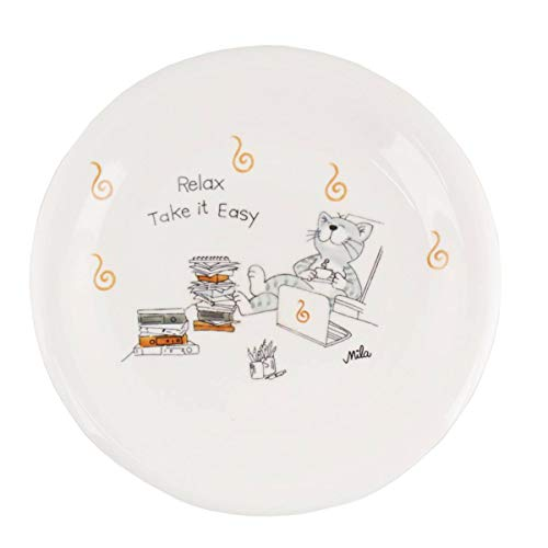 Mila Keramik-Teller Oommh Katze Relax - take it Easy Home-Office | MI-84227 | 4045303842274