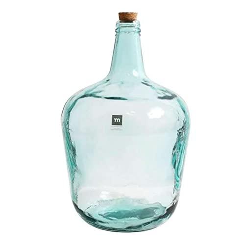 La Mediterránea - Garrafa de vidrio 8 litros, tapón de corcho, modelo Apple, 38 x 25 cm,...
