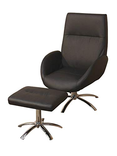 BJYX Sessel inkl Hocker Relaxsessel Fernsehsessel Clubsessel Polstersessel Farbwahl (Color : Schwarz)