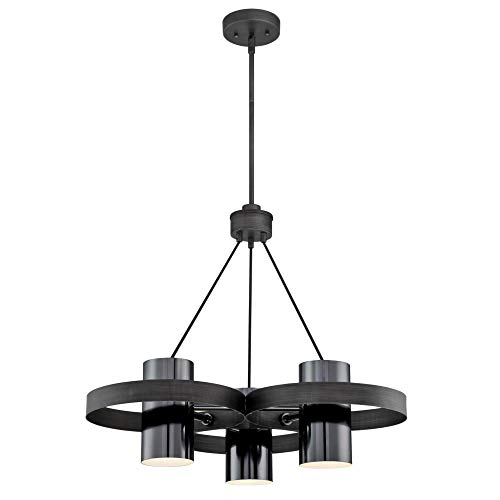 Westinghouse Lighting 6369000 Exton Three-Light Indoor Chandelier, Distressed Aluminum Finish with Gun Metal Shades