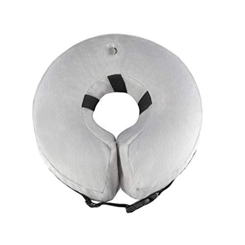 Baijiaye Aufblasbar Halsband für Haustier Hund Katze Kragen verstellbar Gemütlich Hundehalsband mit Klettverschluss oder Versteckte Schnalle Grau S