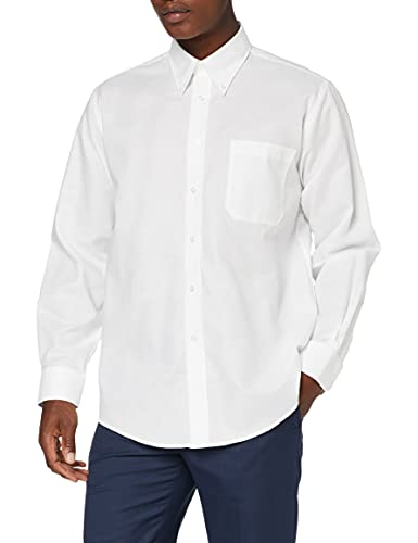 Fruit Of The Loom Oxford - Camisa Hombre, Blanco (Weiß - Weiß), Large