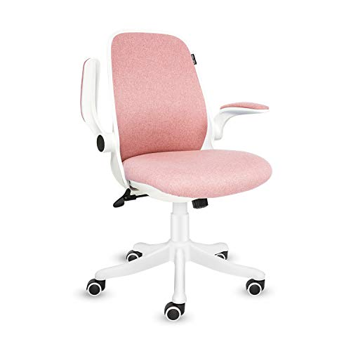 Fullwatt Office Chair Fabric Desk Chair Flip-up Armrest Ergonomic Task Chair Compact 30° Rocking 360° Rotation Seat Surface Lift Reinforced Nylon Resin Base (Pink)