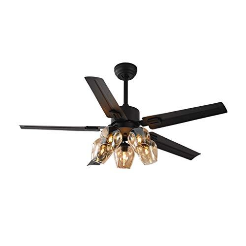 Ventiladores para el Techo con Lámpara Hierro Hoja luz de techo con ventilador 5 de vidrio ámbar Pantalla de Control Remoto Negro mate de la sala del ventilador de la lámpara, 42'/ 48' / 52' Ventilad