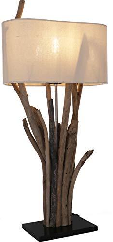 Tischleuchte/Tischlampe, in Bali handgemachtes Unikat aus Naturmaterial, Treibholz, Baumwolle - Modell Makarena/Tischlampen aus Naturmaterialien