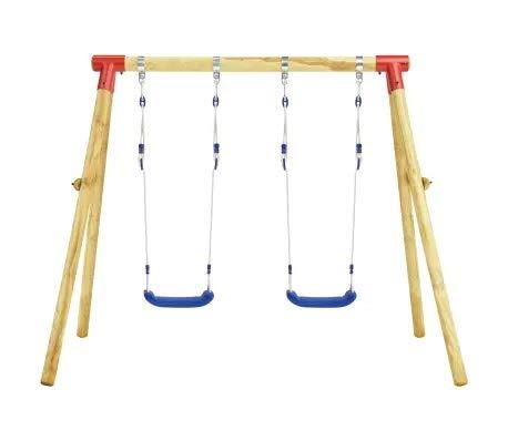 GOTOP Balançoire double de jardin pour enfants, avec cordes réglables, résistante aux rayons UV, coupe-vent et imperméable, en bois de pin, marron et bleu, 230 x 130 x 166 cm
