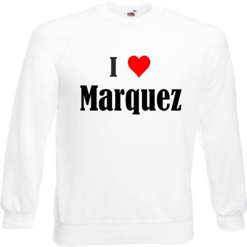Reifen-Markt Sudadera I Love Marquez para mujer, hombre y niños en los colores negro, blanco y azul con estampado Blanco 08Mujer Medium