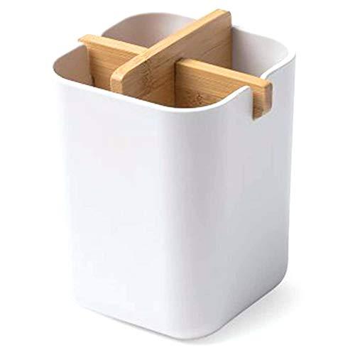 Liseng Support pour brosse à dents en bambou - Porte-stylo - Pot à brosse à dents robuste - Pour le rangement dans la salle de bain
