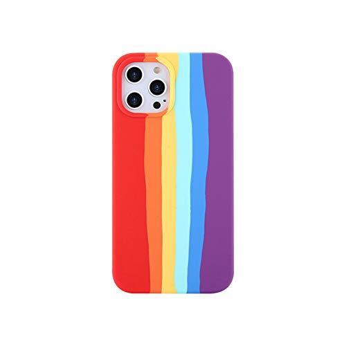 Funda compatible con iPhone 7/8/SE2020/silicona líquida a prueba de golpes gradiente rayas arco iris protector funda de teléfono compatible con iPhone 11/iphone 12 y 12 Pro (iPhone SE2020, CHS)