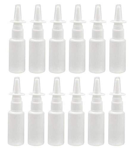 12pcs portátil recargables, caña de plástico botella de Spray Nasal maquillaje agua contenedor para el hogar y viajes uso blanco