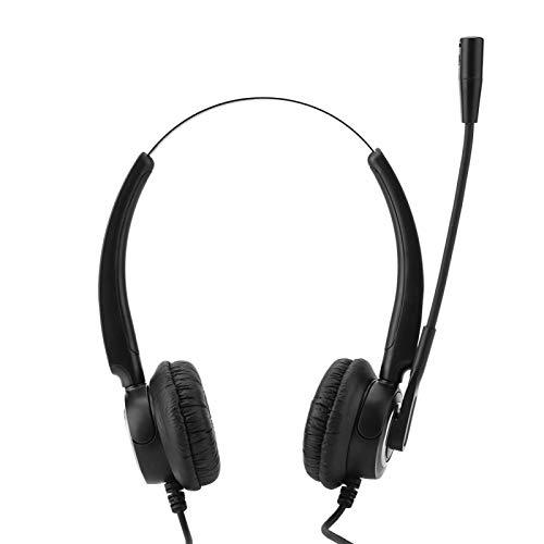 PUSOKEI Ajuste de Volumen y Silencio de los Auriculares con Cable, Centro de Llamadas con cancelación de Ruido Auriculares monoaurales con Cable con micrófono y micrófono