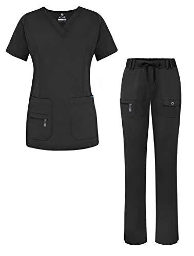 Adar Pro Breakthrough Plus Scrub Set for Women - Enhanced V-Neck Top & Multi Pocket Pants - 4400 - Black - L