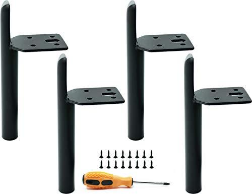 4 patas de muebles intercambiables, patas de mesa de metal DIY, adecuadas para sofá/mesa de centro/mueble de televisión/cama y otros muebles. Color: Negro. Altura: 150 mm.