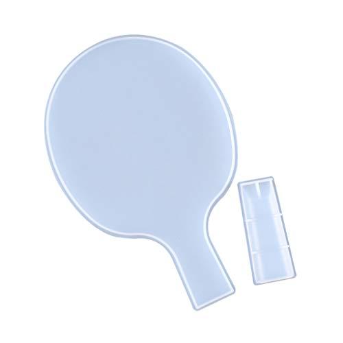 Molde de resina epoxi de cristal Ping Pong raqueta de fundición de silicona molde DIY manualidades haciendo herramientas