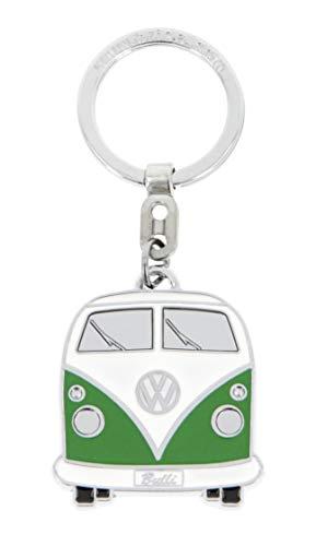 BRISA VW Collection - Volkswagen T1 Bulli Bus Schlüssel-Anhänger in Geschenkdose, Geschenk-Idee/Fan-Souvenir/Retro-Vintage-Artikel (Grün/Softemaille/Verchromt)