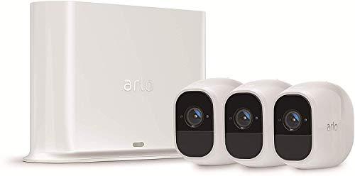 Arlo Pro2 Überwachungskamera & Alarmanlage, 1080p HD, 3er Set, kabellos, Innen / Aussen, Bewegungsmelder, Nachtsicht, 130 Grad Blickwinkel, Smart Home,WLAN, 2-Wege Audio, wetterfest, VMS4330P, Weiß