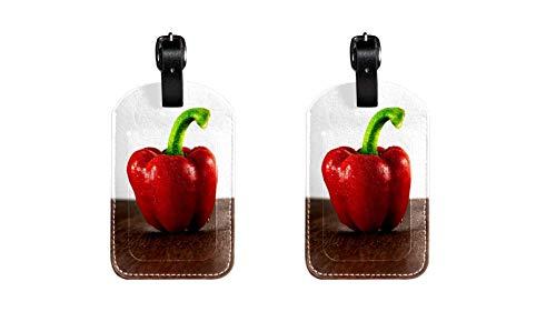 Poivre Rouge Hochwertige PU-Leder Gepäckanhänger Kindertaschenanhänger Reise-ID-Etiketten Anhänger für Koffergepäckanhänger für Flug, Eisenbahn- und Schiffsreisen 2 Stücke