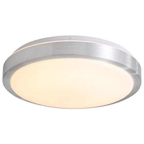 NEWSEE 18W LED Deckenleuchte Ø30cm Deckenlampe Geeignet für Badezimmer Lampe Küchenlampe Schlafzimmerlampe Wohnzimmer Kinderzimmer Balkon Büro 4000K Neutralweiß Lampen Sliver Deckenlampen