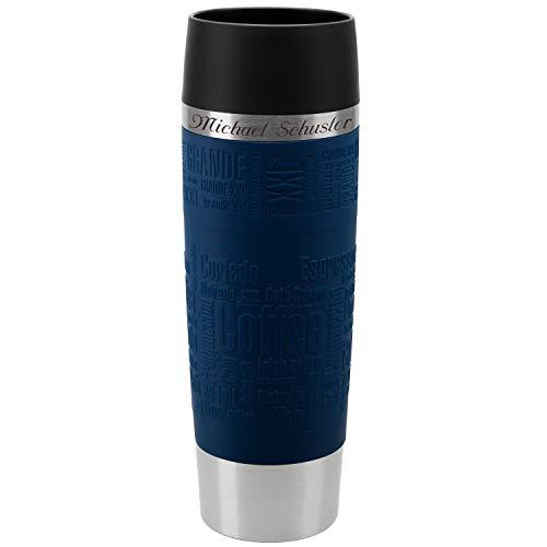Emsa Thermobecher Travel Mug Grande Blau 500 ml mit persönlicher Rund-Gravur gelasert Edelstahl Soft-Touch-Manschette Quick Express Verschluss