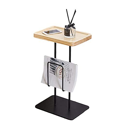 N&O Renovation House Accent Sofa Table Modern Tray Table Stabile Beistelltische Mit Zeitungsständer Freizeit Beistelltisch Für Schlafzimmer Arbeitszimmer Studio Küche Schwarz(Größe:35 * 25 * 58CM