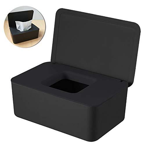 WELLXUNK® Feuchttücher-Box, Tissue Aufbewahrungskoffer, HomeTissue Boxen, Baby Feuchttücherbox, Serviettenbox Mit Deckel, Feuchttücher Spender, Toilettenpapier Box, Für Zuhause, Büro (Schwarz)