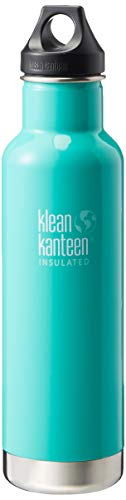 Klean Kanteen Classic Stainless Steel Double Wall Insulated Water Bottle with Loop Cap, 32-Ounce, Sea Crest