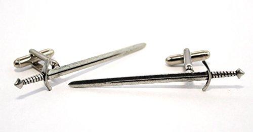 Boutons de Manchette Médiévale Bataille épée (avec Boîte à Cadeau)