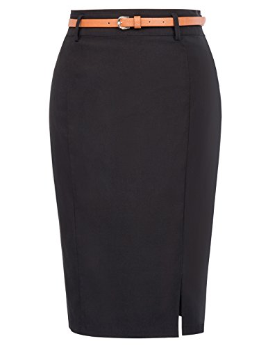 Women's Casual Midi Bodycon Career Pencil Skirt with Belt Size M Black KK856-1