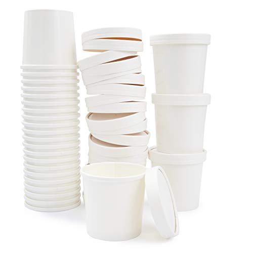 50 Pack witte kraftpapier soepbekers met deksels - 12 oz