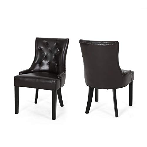 Great Deal Furniture Stacy Leather Dining Accent Chairs (Set of 2), Brown Leather