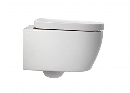 Wand-WC NT2038, Spülrandlose Hänge-Toilette D-Form, Keramik-WC mit abnehmbarem Deckel, Raumspar-WC mit kurzer Ausladung, WC-Sitz aus Duroplast mit Absenkautomatik