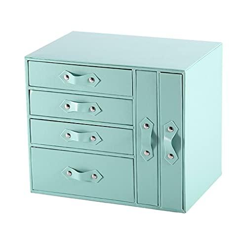 ROEWP Cajas de Joyas de 6 cajones, Caja de joyería de Anillo de Pendiente, Caja de Regalo de Boda PU Caja de Almacenamiento de Adorno de Gran Capacidad de Cuero (Color : Blue)