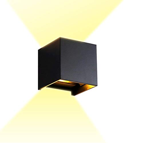 Led-wandlamp, buitenverlichting, tuinverlichting, retro vintage, buitenverlichting, zwart, aluminium kubus, buitenwandlamp, waterdicht, met instelbare stralingshoek, IP65, wandverlichting Villa warm licht 6 W