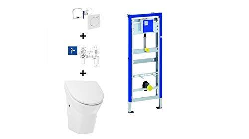 Geberit Duofix Basic Urinal Element + Urinal + Drückerplatte Samba Komplett-Set Mit Deckel